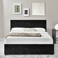 Birlea Berlin Ottoman Kingsize Bed Upholstered in Black Crushed Velvet