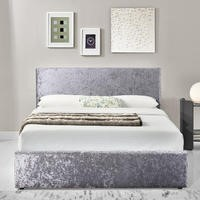 Birlea Berlin Ottoman Double Bed Upholstered in Steel Crushed Velvet