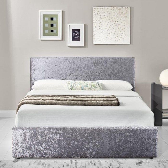 Birlea Berlin Ottoman Small Double Bed In Steel Crushed