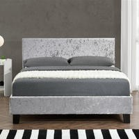 Birlea Berlin Double Bed Upholstered in Steel Crushed Velvet