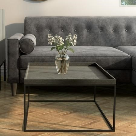 Square Grey Coffee Table with Metal Base - Bijou