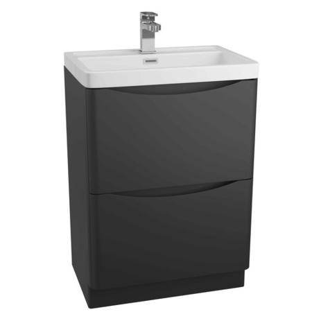 Black Free Standing Bathroom Vanity Unit & Basin - W600 x H850mm