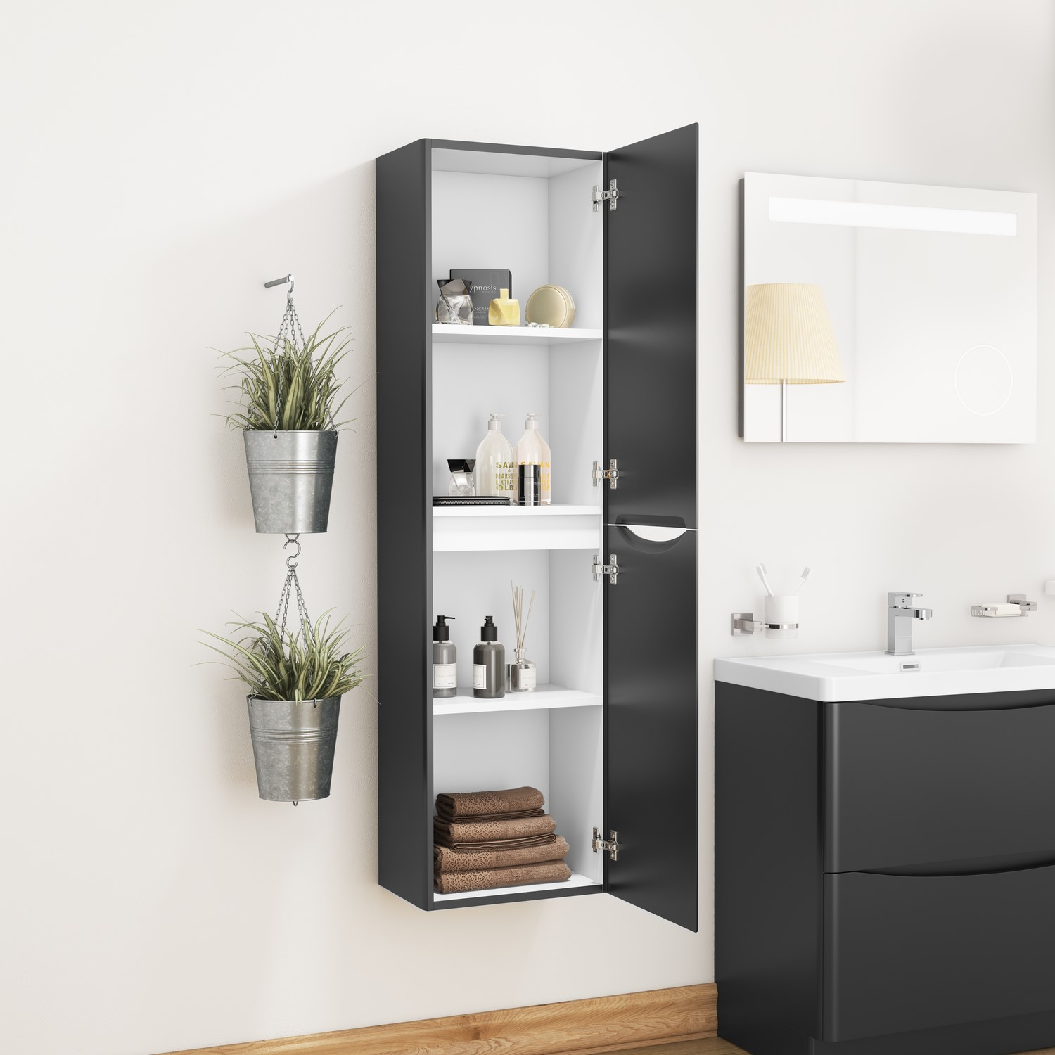Picture of: Black Wall Hung Tall Bathroom Storage Cabinet W400 X H1500mm Oakland Furniture123