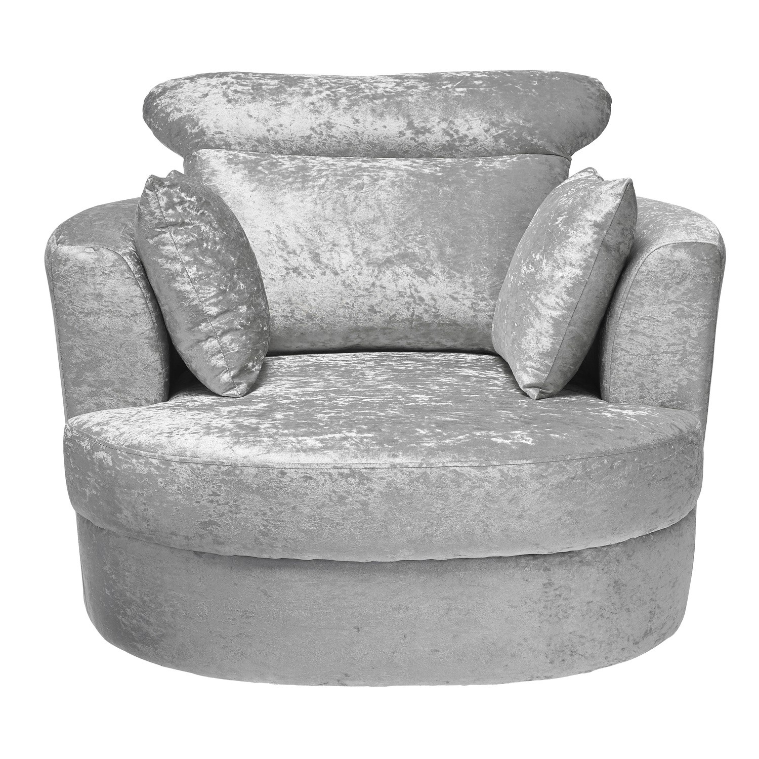 LPD Swivel Snuggler Chair in Silver Crushed Velvet - Bliss
