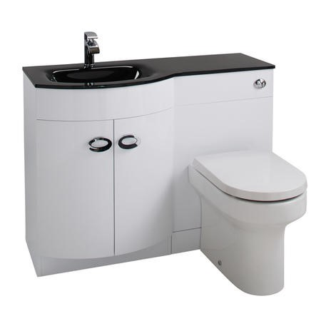 curve white gloss combination left hand vanity unit with. Black Bedroom Furniture Sets. Home Design Ideas