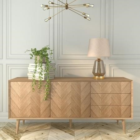 Large Solid Oak Chevron Sideboard - Briana