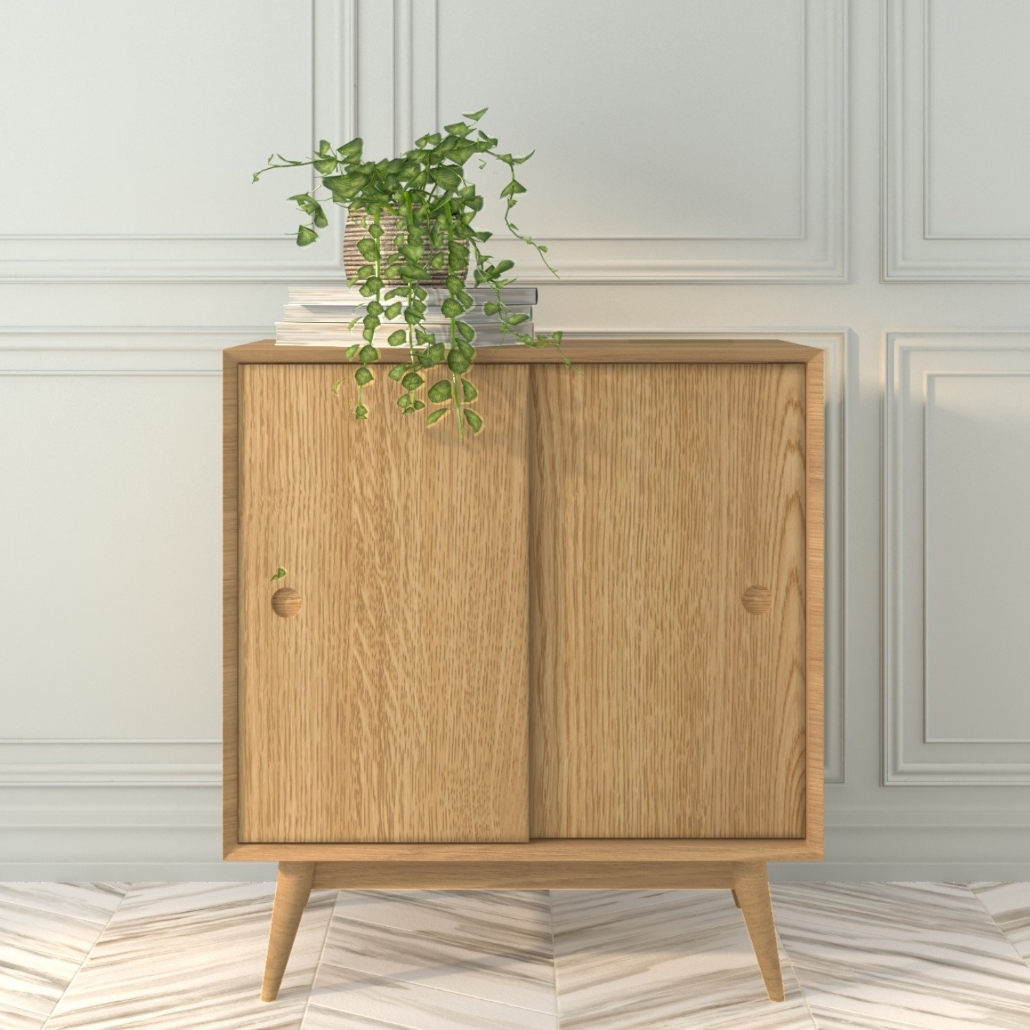 Small Solid Oak Sideboard with Sliding Doors  Scandi  Briana