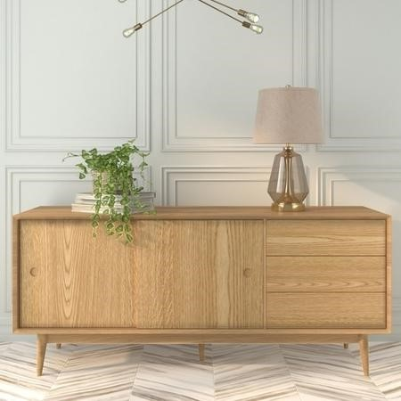 Solid Oak Sideboard with Sliding Doors & Drawers - Scandi - Briana