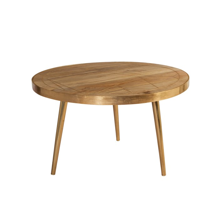 Round Coffee Table Wood.Bengal Light Wood Gold Inlay Round Coffee Table