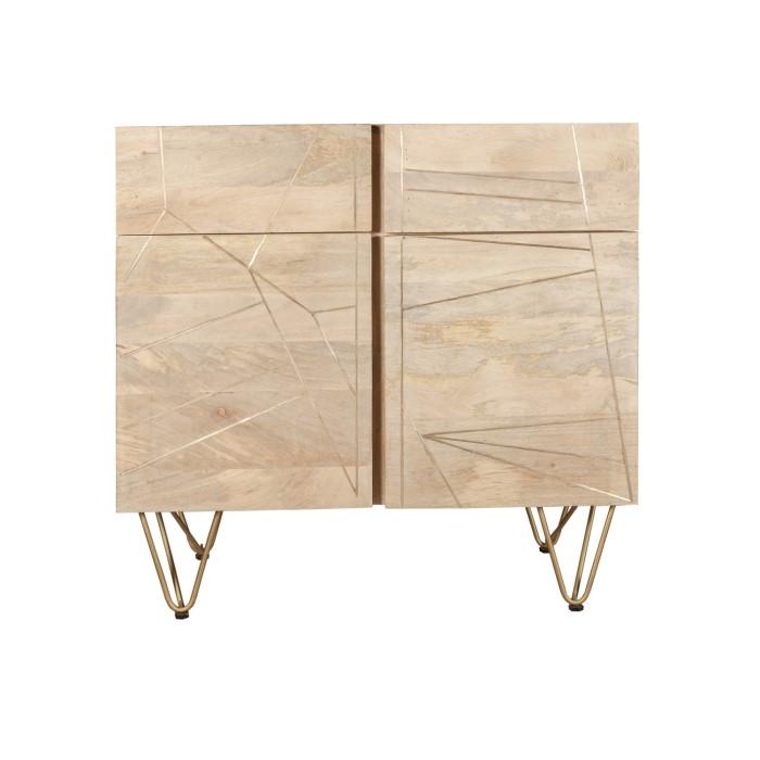 Bengal Light Wood Gold Inlay 2 Door Medium Sideboard Furniture123