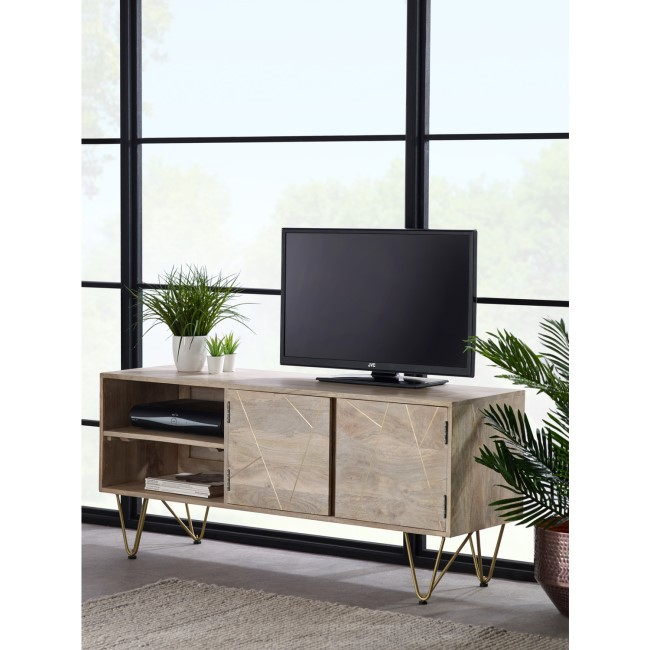 "Wooden TV Unit with Gold Inlay TV's upt to 55"" - Bengal"