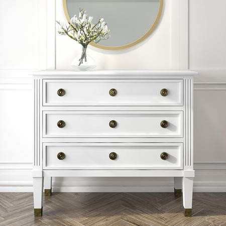 French Inspired 3 Drawer White Chest of Drawers in Solid Wood