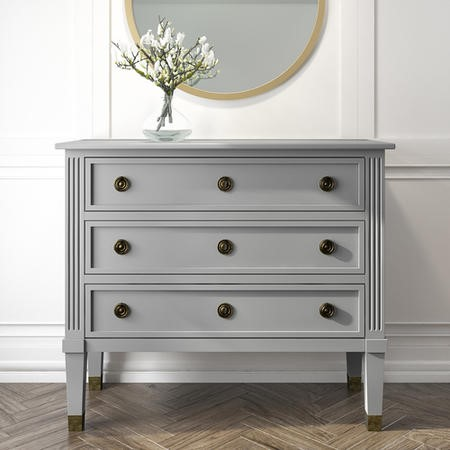 Bridget 3 Drawer Accent Grey Chest of Drawers in Solid Wood