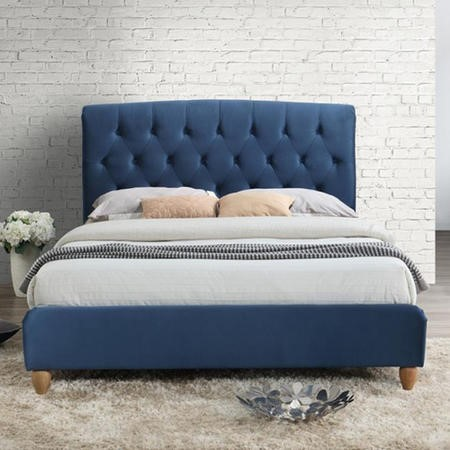 Birlea Brompton Double Bed Upholstered in Midnight Blue