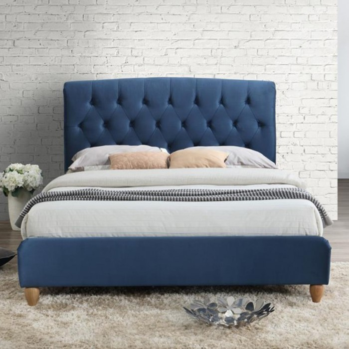 Birlea Brompton Small Double Bed Upholstered In Midnight