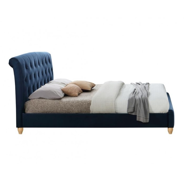 58e8fed0bd8d Birlea Brompton Small Double Bed Upholstered in Midnight Blue ...