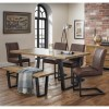 Julian Bowen Industrial Oak Bench Dining Set with 4 Brown Leather Chairs - Brooklyn