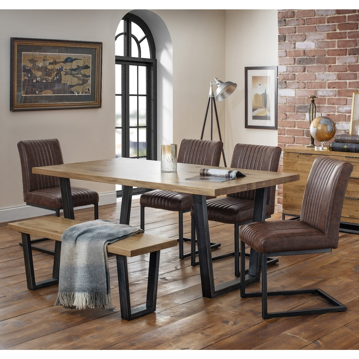 Photo of Julian bowen industrial oak bench dining set with 4 brown leather chairs - brooklyn