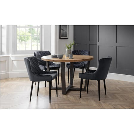 Brooklyn Round Dining Set with 4 Grey Velvet Luxe Chairs