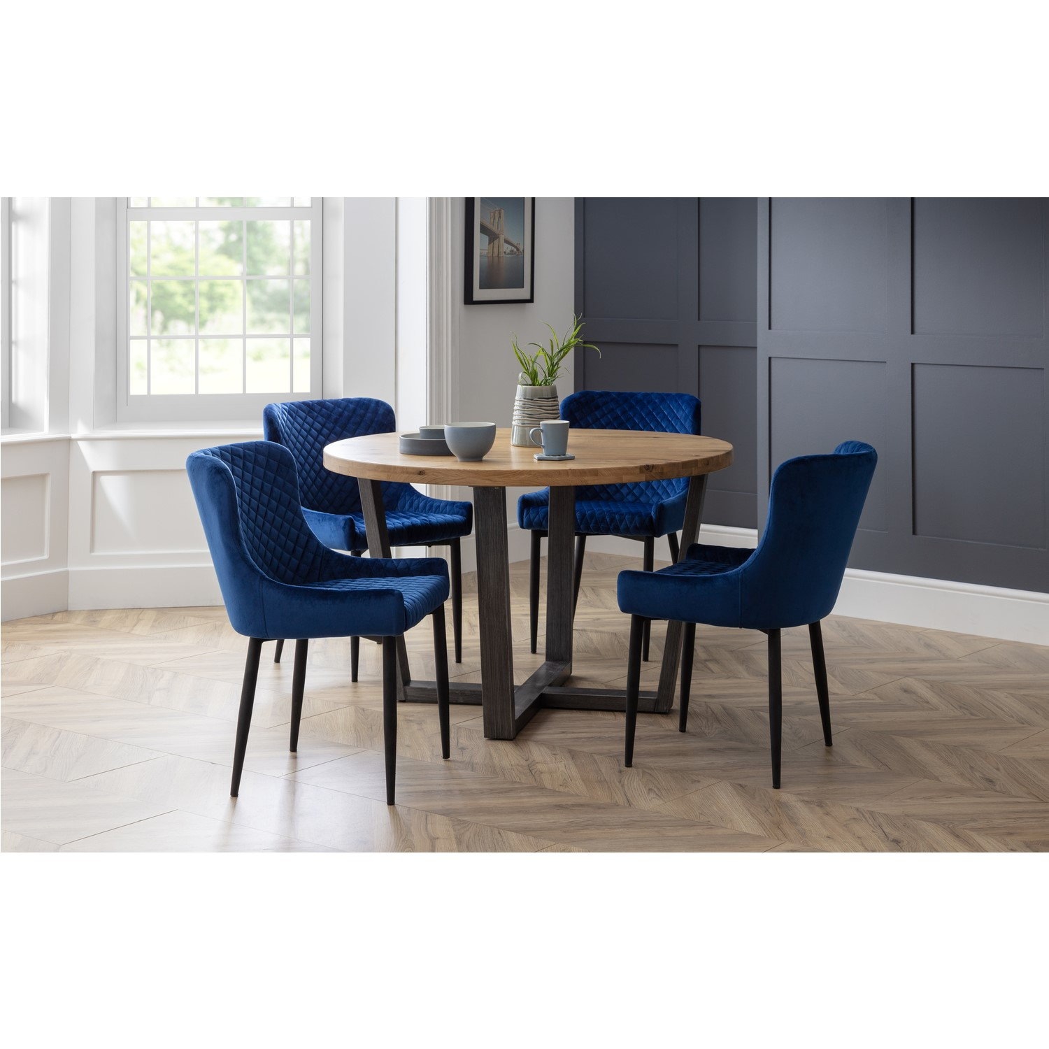 Brooklyn Round Dining Set with 9 Blue Velvet Luxe Chairs  Julian ...