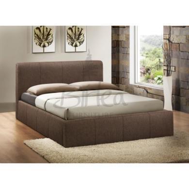 Birlea Furniture Brooklyn Fabric Kingsize Ottoman Bed in Chocolate