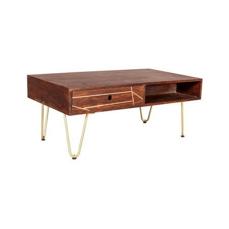 Dark Wood & Gold Coffee Table - Bengal