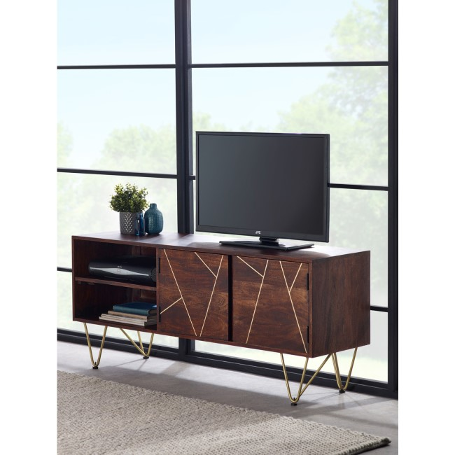 "TV Unit in Dark Wood with Gold Inlay TV's up to 55"" - Bengal"