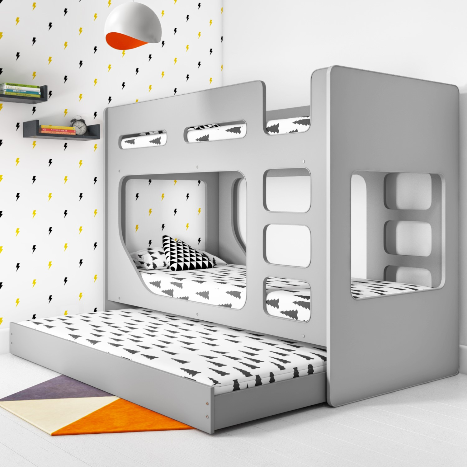 Braxton Kids Bunk Bed With Pull Out Trundle In Grey Furniture123