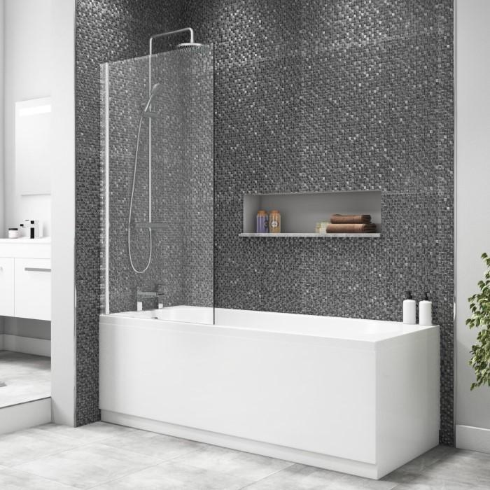 Square Bath Shower Screen 1400 x 800mm   Furniture123
