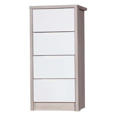 Avola 4 Drawer Tall Boy in Champagne with Cream Gloss