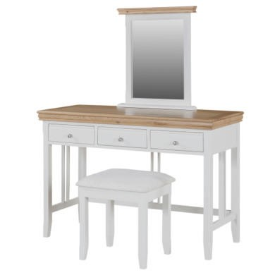 Charleston Dressing Table Set in Stone White and Oak