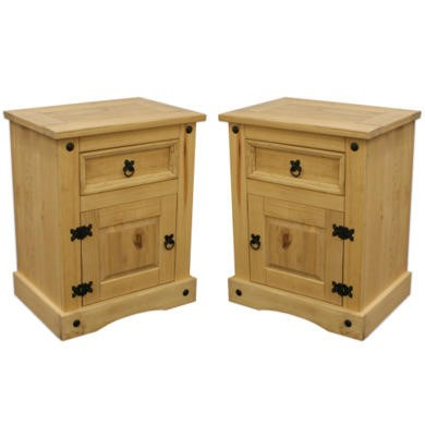 Set of 2 corona mexican bedside table in solid pine for Furniture 123 corona