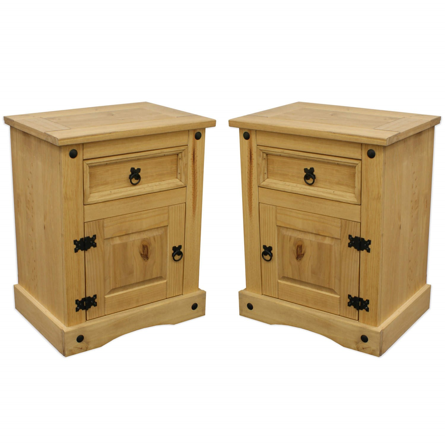 Set Of 2 Corona Mexican Bedside Table In Solid Pine