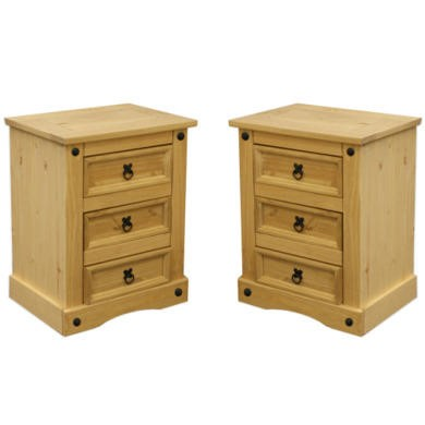 Set Of 2 Corona Mexican 3 Drawer Bedside Tables In Solid Pine