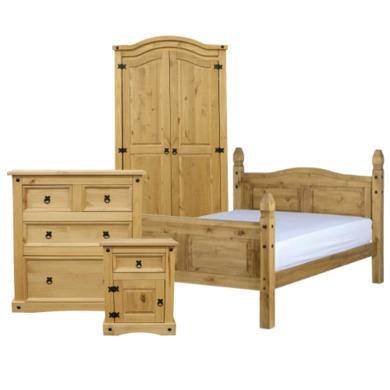 Corona 4 Piece Roomset in Solid Pine
