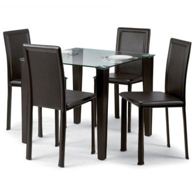 Julian Bowen Quattro Brown Faux Leather Glass Top Dining Set with 4 Chairs