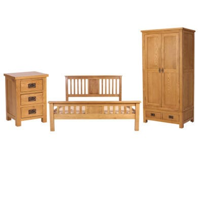 Rustic Saxon Oak Double Bed Bedroom Set