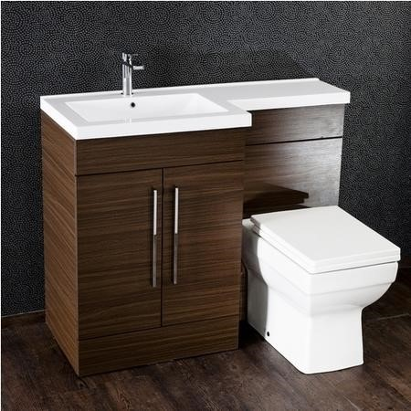Moderno Walnut Left Hand Cloakroom Suite with Mid Edge Basin