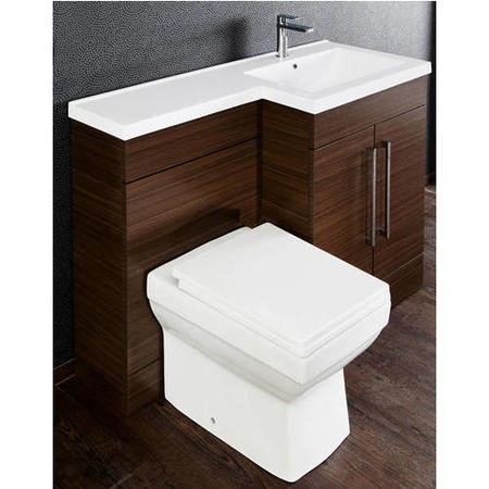 Walnut Right Hand Cloakroom Suite with Mid Edge Basin - W1090mm