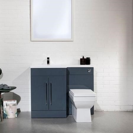 Moderno Anthracite Left Hand Cloakroom Suite with Mid Edge Basin