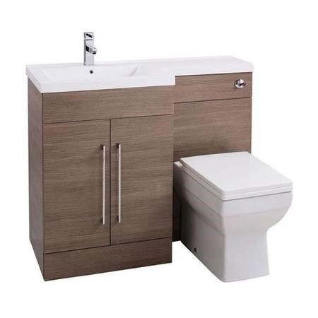 Oak Left Hand Cloakroom Suite with Thin Edge Basin - W1090mm
