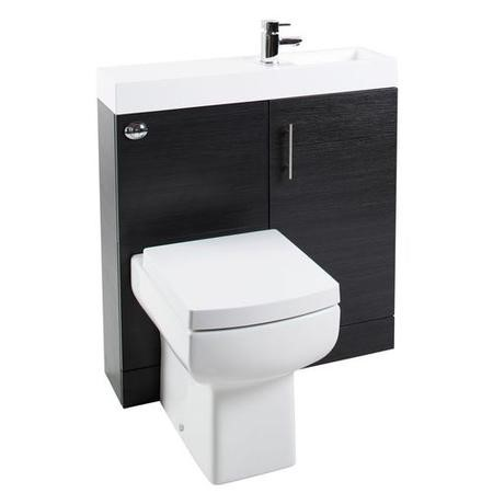 MicroPlus Black Ash Cloakroom Pack with Delta Toilet