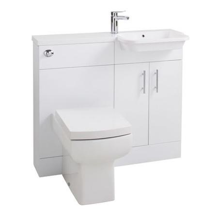 White Right Hand Cloakroom Suite - W1000mm