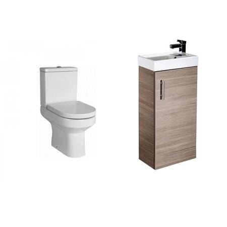 Medium Oak Vanity Unit Cloakroom Suite