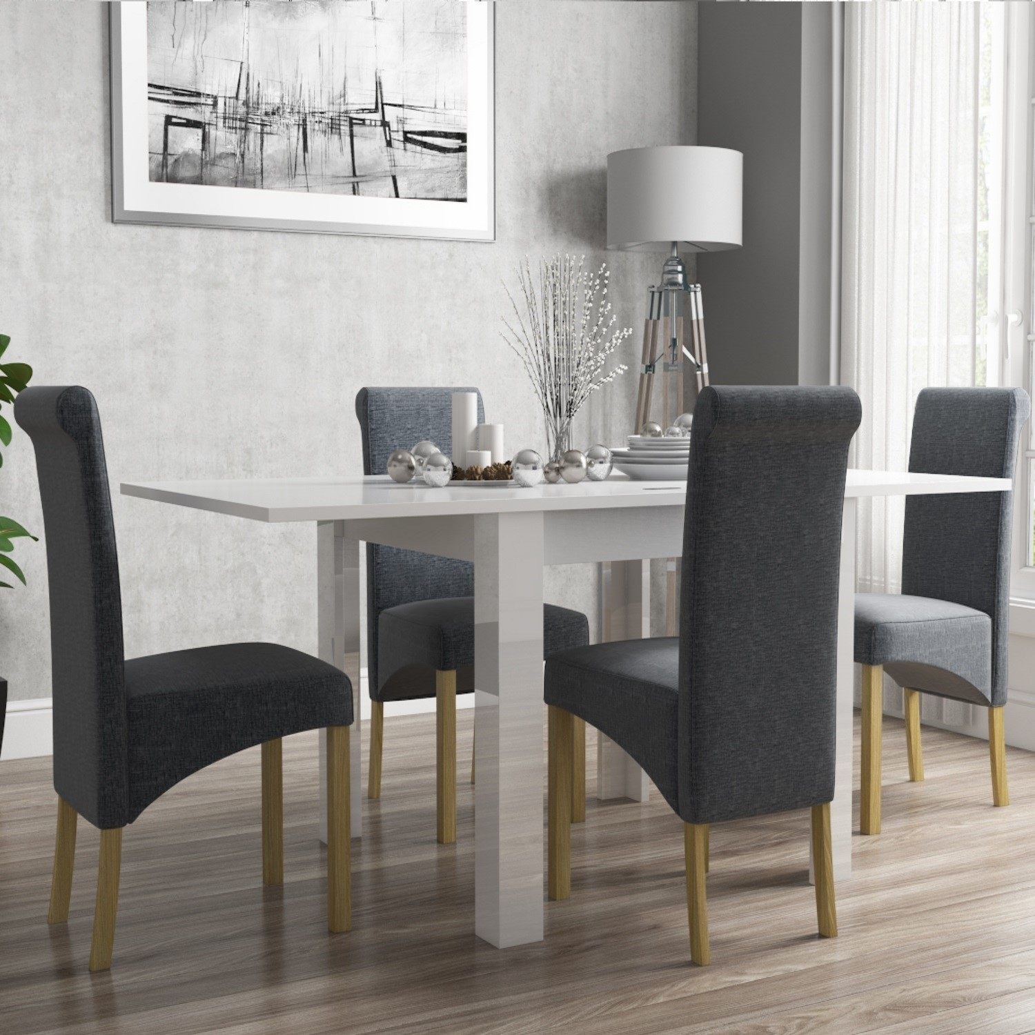 Vivienne Flip Top White Gloss Dining Table And 4 Grey Roll