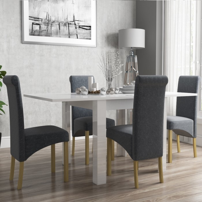 Vivienne Flip Top White Gloss Dining Table And 4 Grey Roll Back Chairs