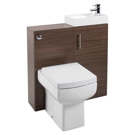 Walnut Compact Unit Cloakroom Suite