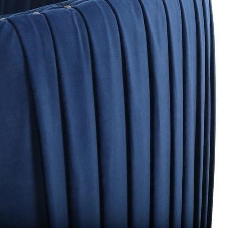 Round Swivelling Pleated Velvet Armchair in Midnight Blue