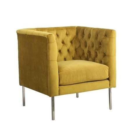 Yellow Velvet Square Button Back Armchair