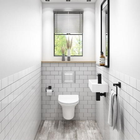 Valencia Rimless Wall Hung Toilet with Soft Close Seat and Wirquin Chrono WC Frame with Chrome Flush Plate